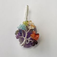 Wire Wrapped Cabochon Tree of Life Chakra - Amethyst 1pc