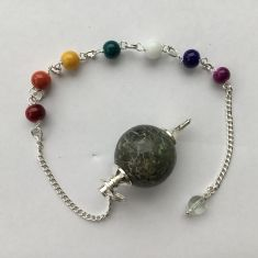 Labradorite Ball Pendulum with Chakra Chain
