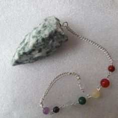 Tree Agate Rough Pendulum with Chakra chain