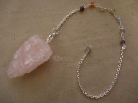 Rose Quartz Rough Pendulum